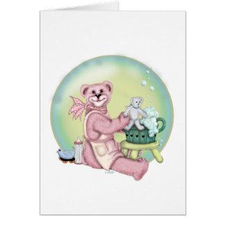 BEAR BATH CARTOON GREETING Card