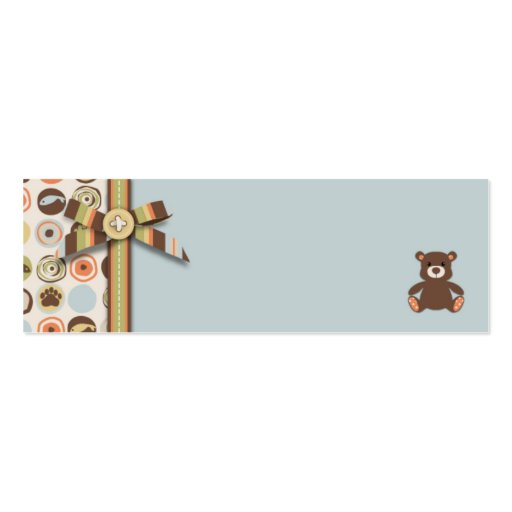 Bear Bear Boy Skinny Gift Tag Business Card Template