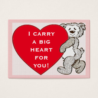 Bear Big Red Heart Pink Edge Valentine Kids Cards