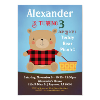 Bear Birthday Invitation Teddy Bear Picnic Boy