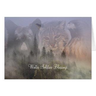 Bear Bobcat and Hawk Solstice Blessings Card