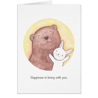 Bear & Bunny I love you Card Happy Valentine Card