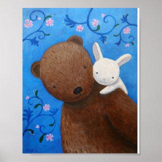 Bear & Bunny Woodland Sweet Love Flowers Poster