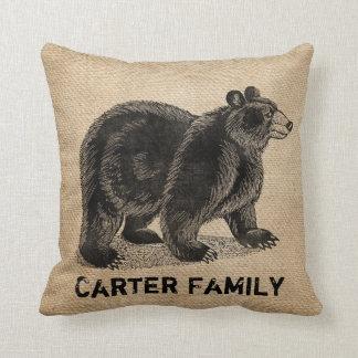 Bear Burlap Personalized Cushion