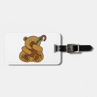 Bear Candy Cane Bag Tag