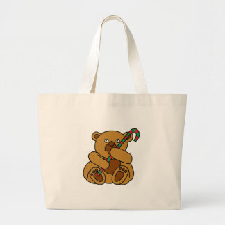 Bear Candy Cane Large Tote Bag