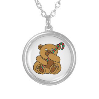 Bear Candy Cane Silver Plated Necklace