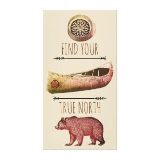 Bear Canoe Compass True North Canvas Art