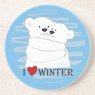 Bear Couple Polar Cute Love Winter Hug Blue Chic Coaster