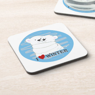 Bear Couple Polar Cute Love Winter Hug Cartoon Coaster