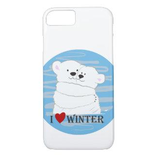 Bear Couple Polar Cute Love Winter Hug Cartoon iPhone 8/7 Case