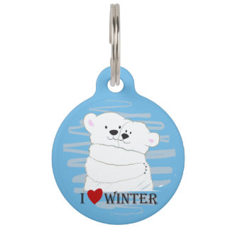 Bear Couple Polar Cute Love Winter Hug Snow Blue Pet Name Tag