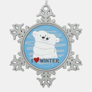 Bear Couple Polar White Love Winter Hug Cartoon Snowflake Pewter Christmas Ornament