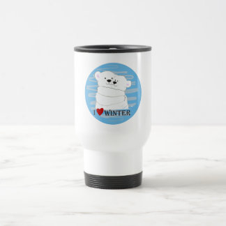Bear Couple Polar White Love Winter Hug Cartoon Travel Mug