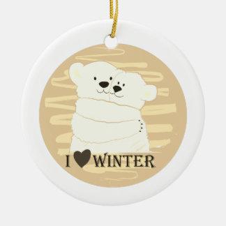 Bear Couple Polar White Love Winter Hug Golden Ceramic Ornament