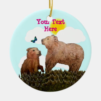 Bear Cub and Mother with Butterfly Ceramic Ornament