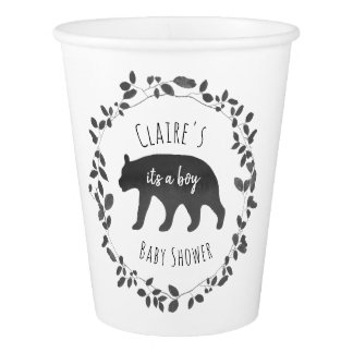 Bear Cub Black + White Foliage Baby Shower Paper Cup