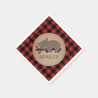 Bear Cub Lumberjack Plaid Baby Shower Napkins Disposable Serviette