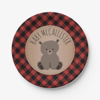 Bear Cub Lumberjack Plaid Baby Shower Paper Plate