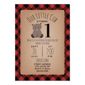 Bear Cub Lumberjack Plaid Birthday Party Card