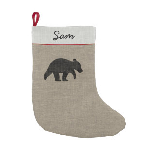 Bear Cub Silhouette with Custom Text Small Christmas Stocking