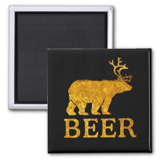 Bear Deer or Beer Bold Silhouette Square Magnet