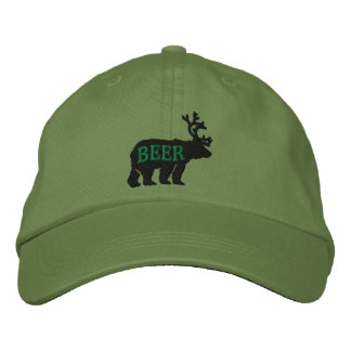 Bear Deer or Beer Embossed Embroidered Statement Embroidered Hat