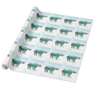 Bear double exposure - polar bear - bear art wrapping paper