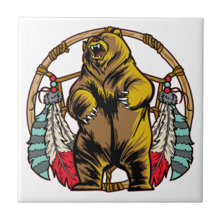 Bear Dream Catcher Small Square Tile