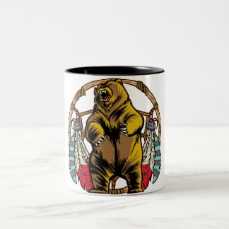 Bear Dreamcatcher Two-Tone Coffee Mug