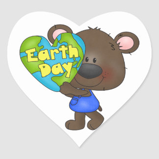 Bear Earth Day Heart Sticker