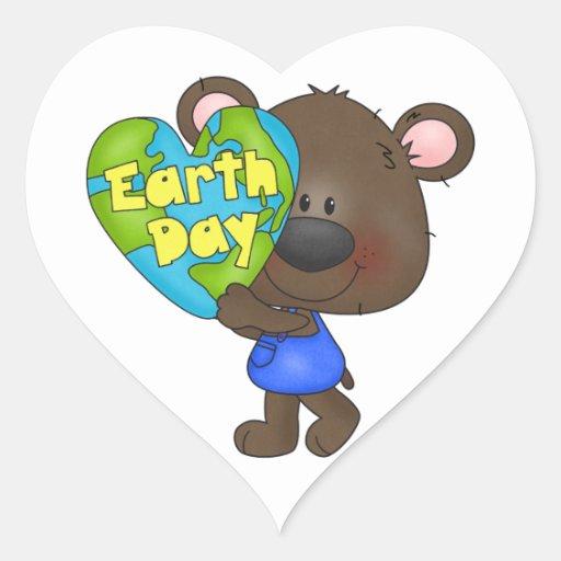 Bear Earth Day Heart Sticker