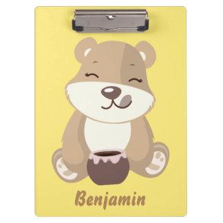 Bear eating honey clipboard