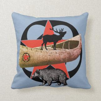 Bear Elk And Canoe Wilderness Throw Pillow