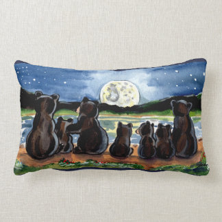 Bear Family and Moon Night Time Designer Pillow