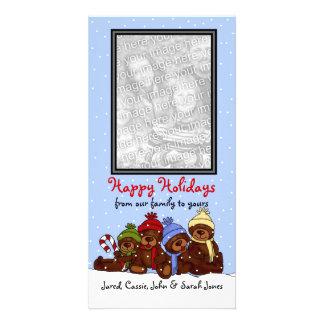 Bear family Christmas photo card Vertical