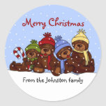 Bear family Christmas stickers