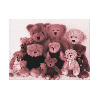 BEAR FAMILY PORTRAIT-SEPIA STRETCHED CANVAS PRINTS