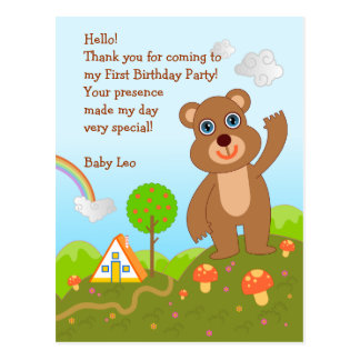 Bear First Birthday Thank You note Postcard