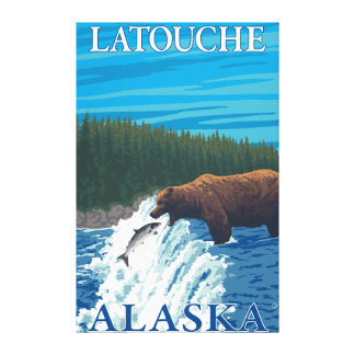 Bear Fishing in River - Latouche, Alaska Stretched Canvas Print