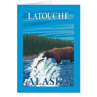 Bear Fishing in River - Latouche, Alaska Card