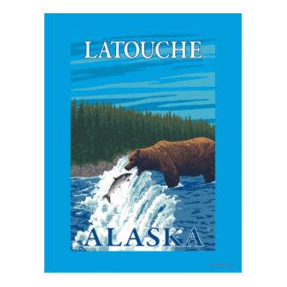 Bear Fishing in River - Latouche, Alaska Postcard
