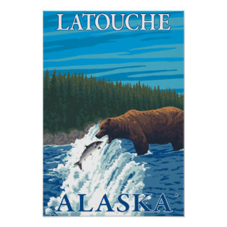 Bear Fishing in River - Latouche, Alaska Poster