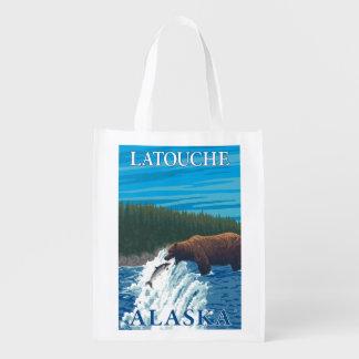 Bear Fishing in River - Latouche, Alaska Grocery Bags