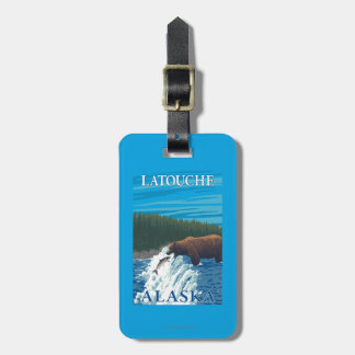 Bear Fishing in River - Latouche, Alaska Tag For Luggage