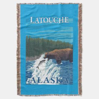 Bear Fishing in River - Latouche, Alaska Throw
