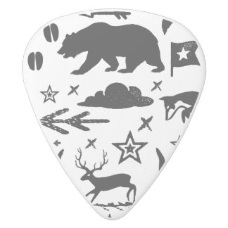 Bear Fox and Deer Black and White Pattern White Delrin Guitar Pick