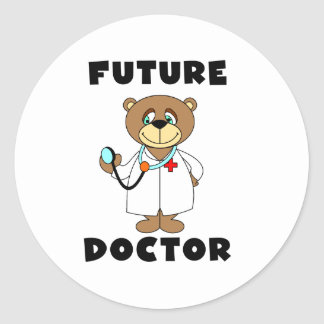 Bear Future Doctor Round Sticker