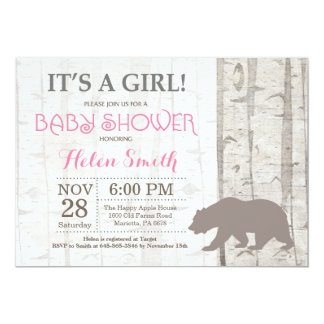Bear Girl Baby Shower Invitation Rustic Woodland