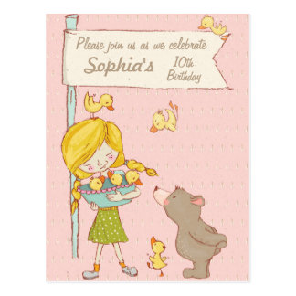 Bear Girl Ducklings Children Birthday Invitation Postcard